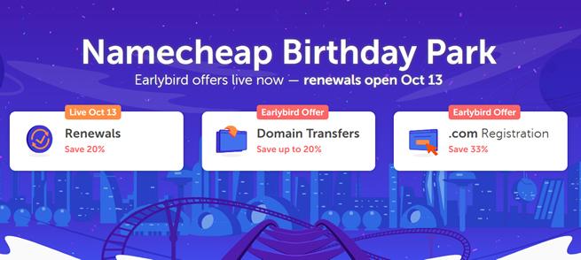 NameCheap 20周年域名大促 新注册/续费/转入均打折